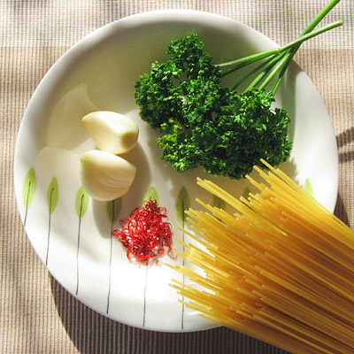 ペペロンチーノの食材
