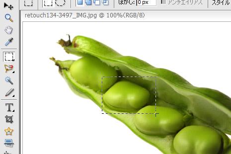 画像上に選択範囲をあらわす四角い点線が残る