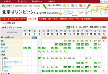 Yahoo!スポーツ:北京オリンピック全日程スケジュール