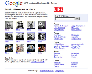 LIFE photo archive hosted by Google