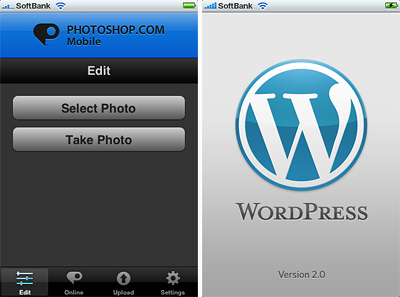 iPhoneアプリ:PHOTOSHOP.COM MobileとWordPress2を入れてみました