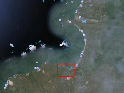 Google Earth: FSジンバラン上にあった雲がなくなった