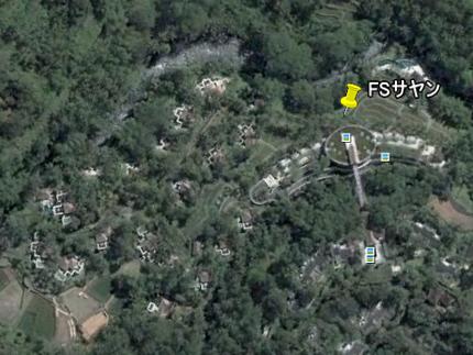 Google Earth: バリ島ウブド上空も雲がなくなっていた