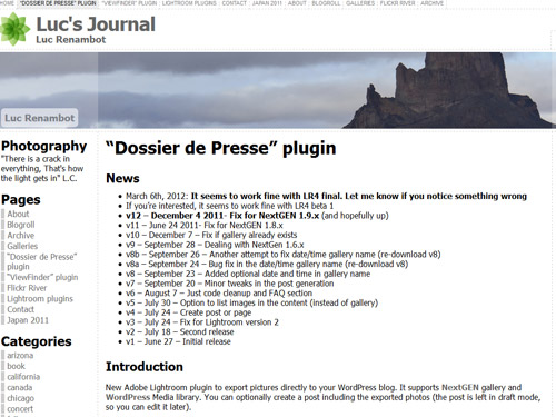 Adobe Lightroomプラグイン 「Dossier de Presse」