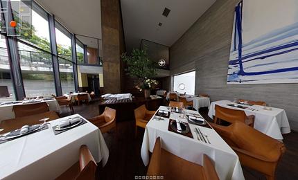 「二期倶楽部」の本館レストラン周りぐるっとパノラマ