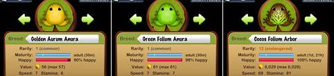 Golden Aurum Anura, Green Folium Anura, Cocos Folium Arbor