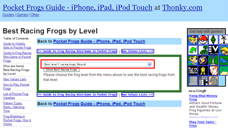 Best Racing Frogs by Level - Pocket Frogs Guide