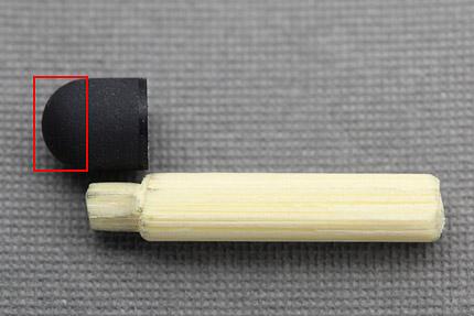軸はゴムの根本部分のみ、赤枠の部分が自由に変形するようにしてみた