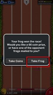 1位になるとCoinもしくは好きなカエルが1匹もらえる