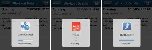 アプリ「Wahoo Fitness」のWorkout アップロード中