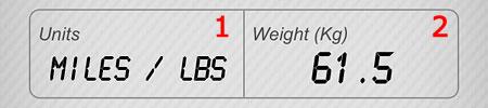 キロかマイルか選択、体重を設定