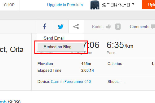 Embed on Blogをクリック