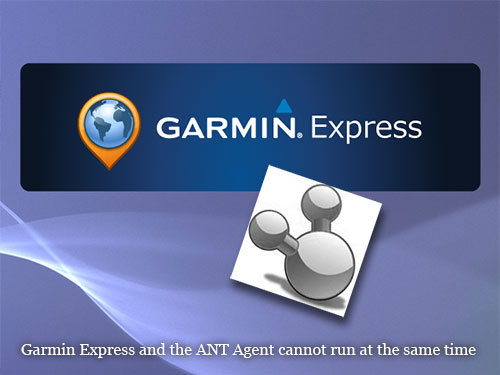 Garmin ExpressとANT Agentは同時に使うことはできない、、、とのこと