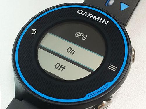 Garmin Forerunner 620 浅いレビュー(17) GPSのON/OFFはアイコンをタップすればいいのか、知らなかった