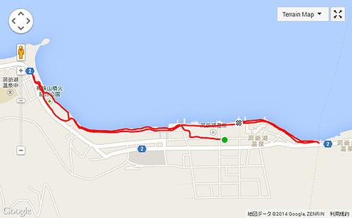 夕飯前に6.4km、乃の風リゾートからスタート地点までは1.2kmほどありました