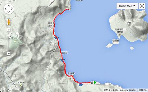 7.5km行ったあたりで折り返し