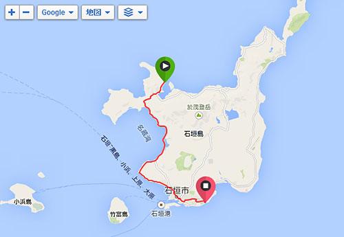 川平湾からホテルまで約25km