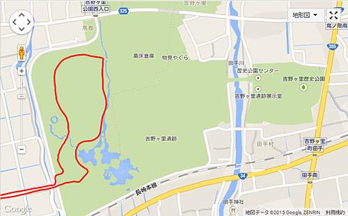 吉野ヶ里遺跡もコースに含まれている(1.5kmほど)