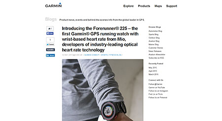 » Introducing the ForerunnerR 225 ? the first GarminR GPS running watch with wrist-based heart rate from Mio, developers of industry-leading optical heart rate technology ≫ Garmin Blog