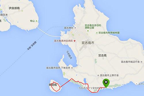 ヴィラ→来間大橋→来間島一周→来間大橋→ヴィラ