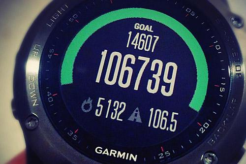1日の最高ステップ数はサロマ湖100km