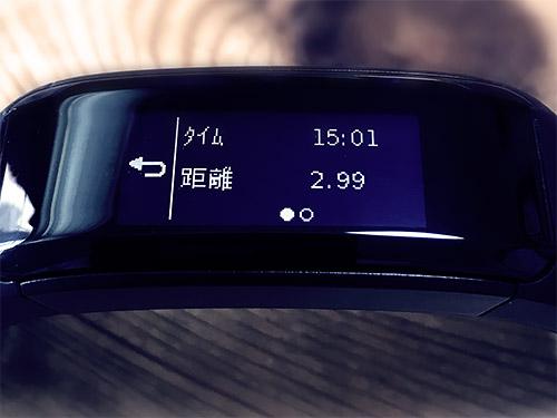 GPSウォッチ上では3km、vsHRでは2.99kmと表示されました