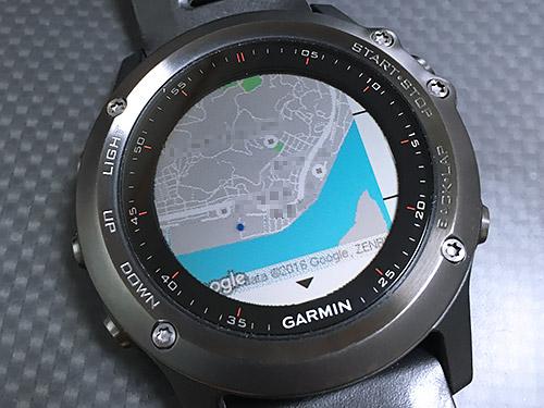 Garmin Fenix 3 浅いレビュー(42) Google Mapsの地図をスクリーン上に表示するCIQアプリ「gMap」