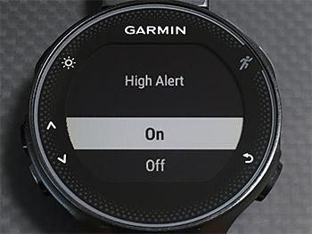 High AlertをOn (Start/Stopボタンを押す)