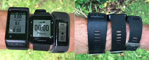 左からvivoactive HR、FR35、vivosmart HR+ Photo via: Road Trail Run: Garmin Comparison: Forerunner 35, Vivosmart HR+ & Vivoactive HR-Mid Range GPS and Activity Watches