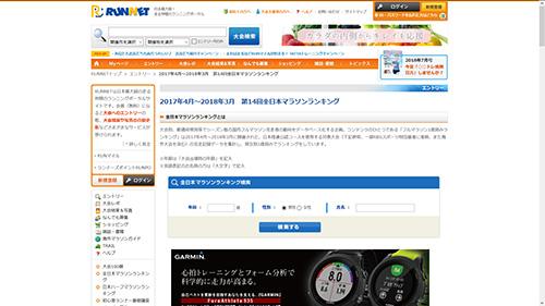 2017年4月~2018年3月のフルマラソン1歳刻み「第14回全日本マラソンランキング」が公開されました