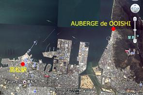 高松駅とオーベルジュ・ドゥ・オオイシの位置関係